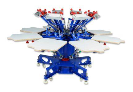 MK-F882E floor type 8 color 8 station double wheel screen printing machine