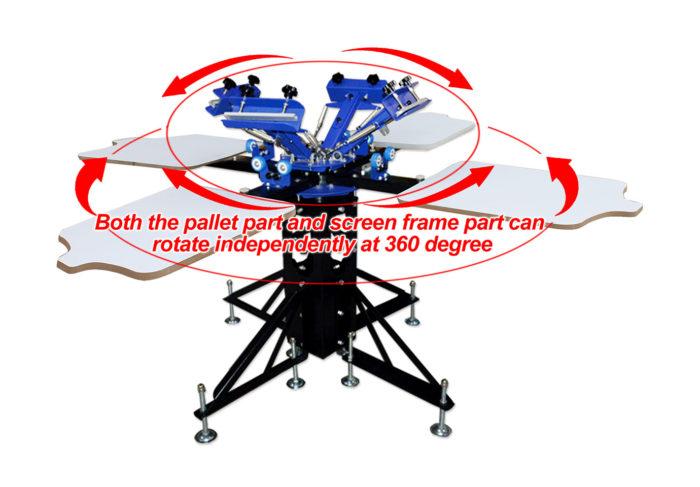 MK-F442B floor type 4 color 4 station double wheel screen printing machine | Screen Printing Machine Manufacturer