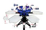 MK-F662B floor type 6 color 6 station double wheel screen printing machine   Screen Printing Machine Manufacturer
