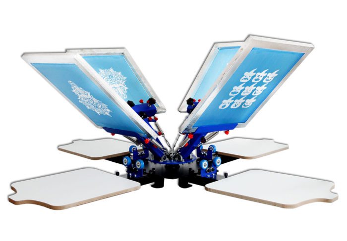 MK-T441C desktop micro adjust four color four station single wheel overprinting screen printing machine | Screen Printing Machine Manufacturer