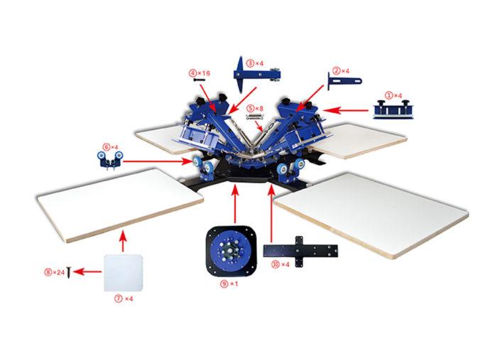 MK-T441B desktop 4 color 4 station single wheel overprinting screen printing machine | Screen Printing Machine Manufacturer