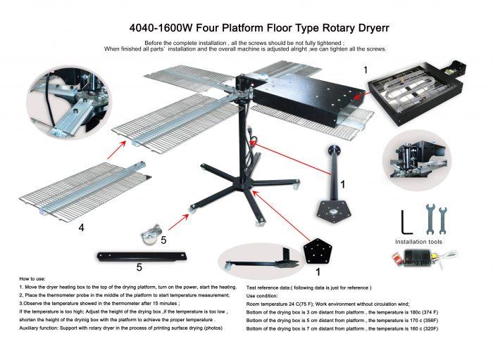 MK-F40404 -110V- 1600W(220) four platform floor type rotary dryer | Screen Printing Machine Manufacturer